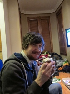 Alex with a cupcake-filled cupcake.