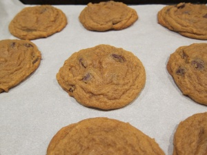 They deflate some, several minutes after baking.