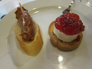 Some pintxos, which are SUPER common in Basque country. A wide variety of them are just out on the bar and you go up and pick a few to eat. The one on the right, with a soft cheese and tomato jelly (?) was the best one of the trip.