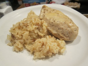 Lemon risotto (with mushrooms in the rice) and chicken marinated in Garlic Lemon Caesar Dressing). I suppose we should have had some vegetables, if only for color.