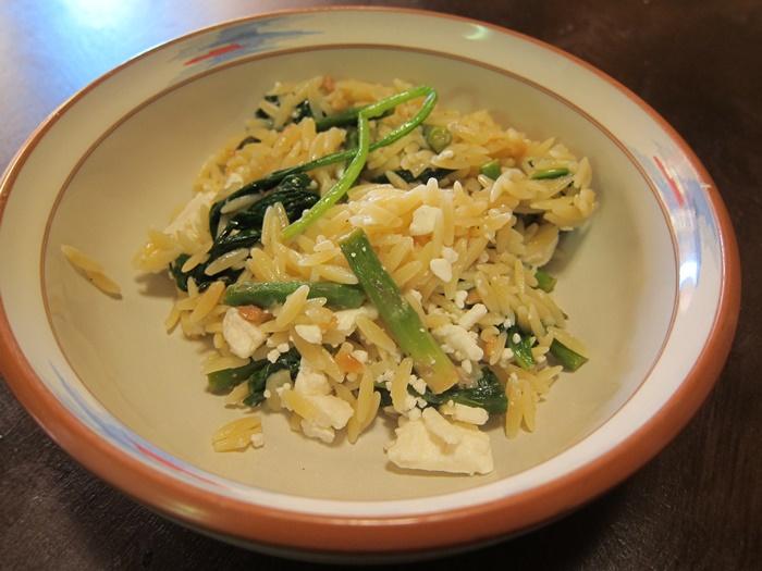 Lemon Orzo Salad with Asparagus, Spinach, and Feta | sparecake